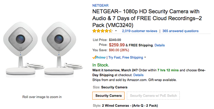 [Deal Alert] Arlo Q 2-pack of 1080p cameras available for $260 on Amazon ($90 off)