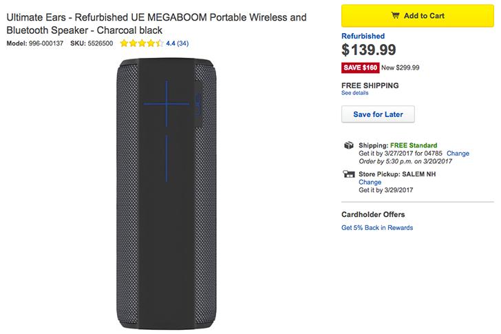 [Deal Alert] Get a refurbished UE MEGABOOM for $140 at Best Buy (53% off $300 MSRP)