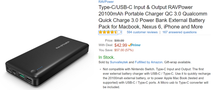 [Update: $36 with Coupon] Deal Alert: RAVPower 20,100mAh battery with a QC 3.0 and a 5V/3A USB Type-C port on sale for $42.99 ($15 off)