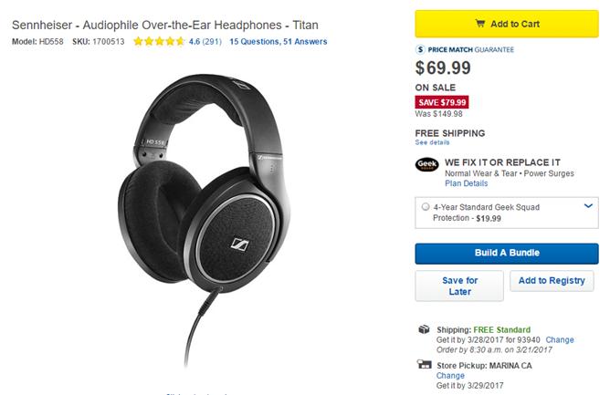 [Deal Alert] Best Buy has Sennheiser's HD558 headphones on sale for just $70 ($80 off) today only
