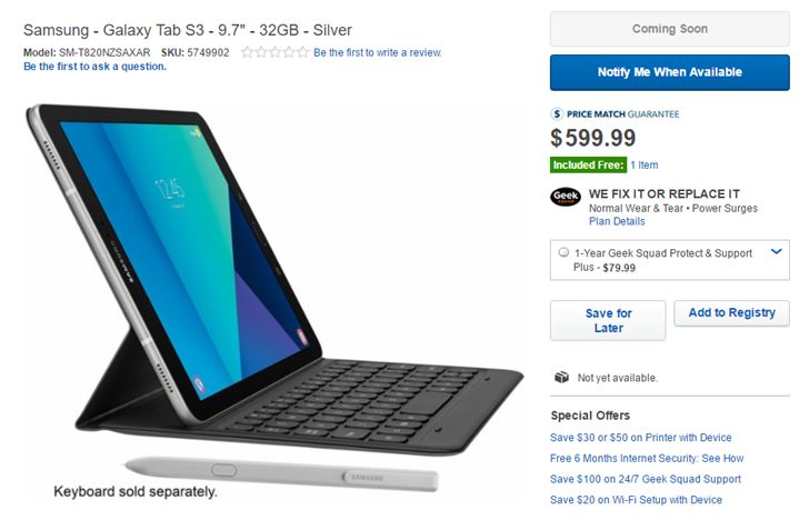 As expected, the Galaxy Tab S3 will cost around $600 in the US according to Best Buy