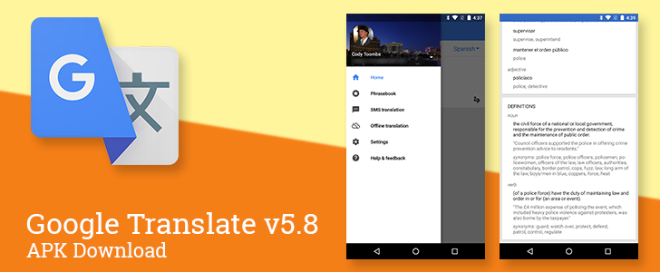 Google Translate v5.8 adds dictionary-style definitions, an account switcher, and simplifies phrasebook syncing [APK Download]