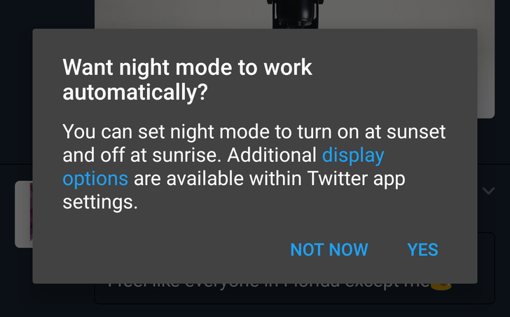 Twitter is testing an automatic night mode in the official app