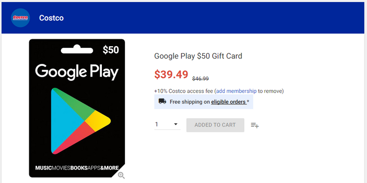 [Deal Alert] Costco is offering $50 Google Play gift cards as low as $39.49 ($7.50) and $100 cards for $82.99 ($10 off)
