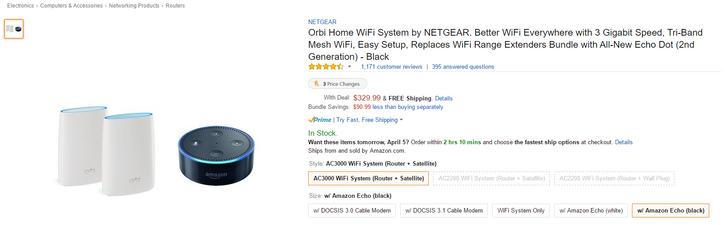 [Deal Alert] Amazon has a 2-node Netgear Orbi Home WiFi system and an Echo Dot bundle for $330 ($91 off)