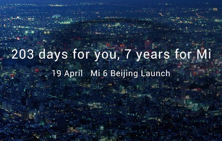Xiaomi's latest teaser image hints that the Mi 6 will be announced on April 19