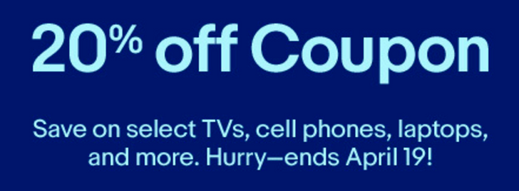 [Deal Alert] Get up to 20% off electronics on eBay with a coupon code (max of $50 off)