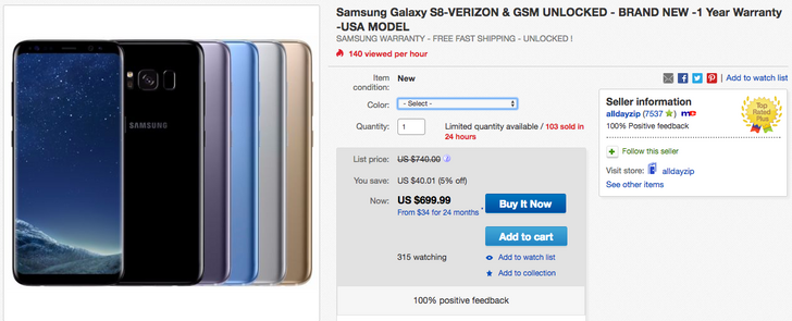[Deal Alert] Get a Verizon/unlocked Galaxy S8 with warranty for just $699.99 ($56 off) from a reputable eBay seller
