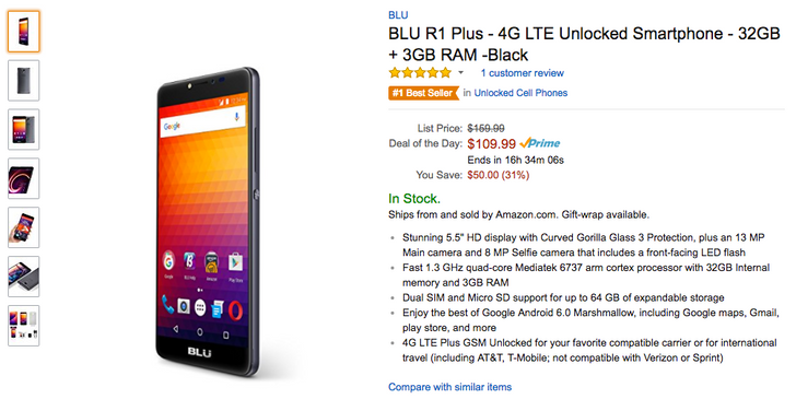 [Deal Alert] Get the new BLU R1 Plus for just $109.99 ($50 off) as part of Amazon's Deal of the Day