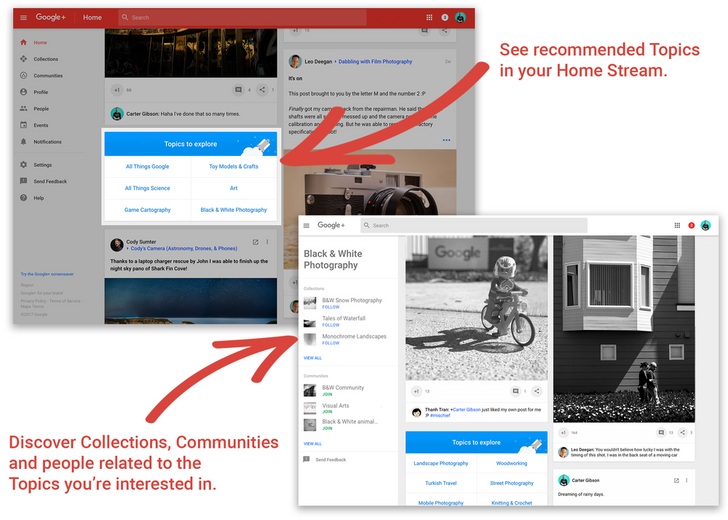 Google+ adds recommended 'Topics' to your home stream