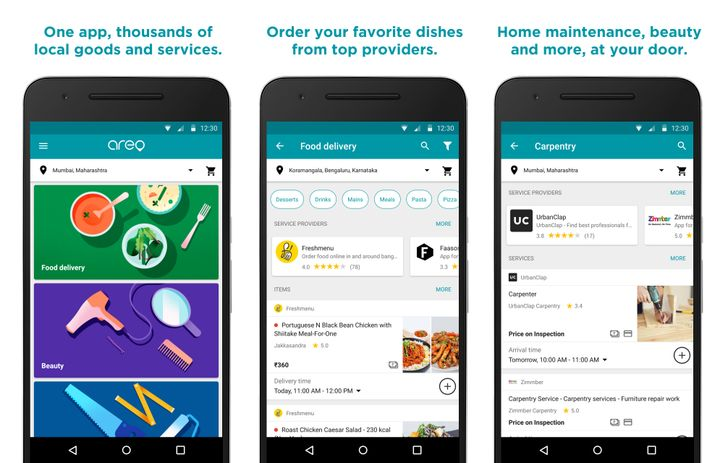 Google launches Areo, a food delivery and home services app for India