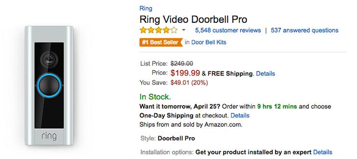 [Deal Alert] Ring Video Doorbell Pro down 20% to $199.99 on Amazon