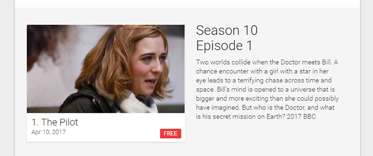 [Deal Alert] The first episode of Doctor Who season 10, plus the first episode of Class (a spinoff), are free on Google Play