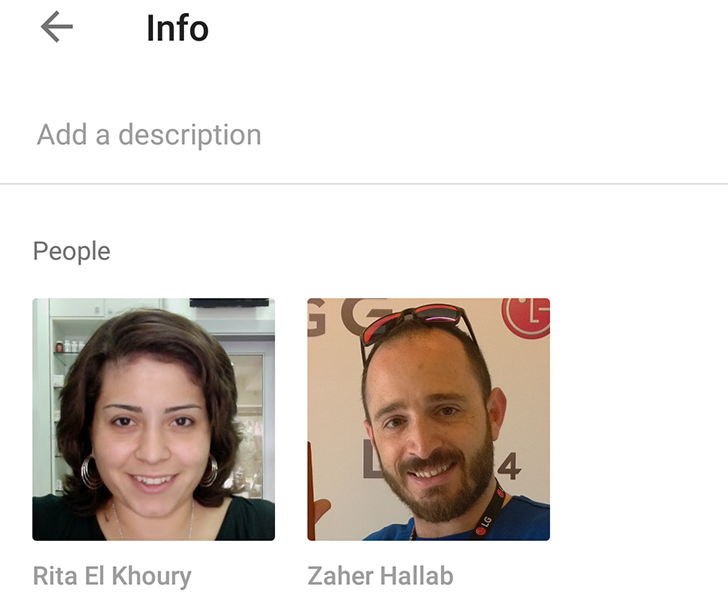 Google Photos details info page shows you the people inside a photo
