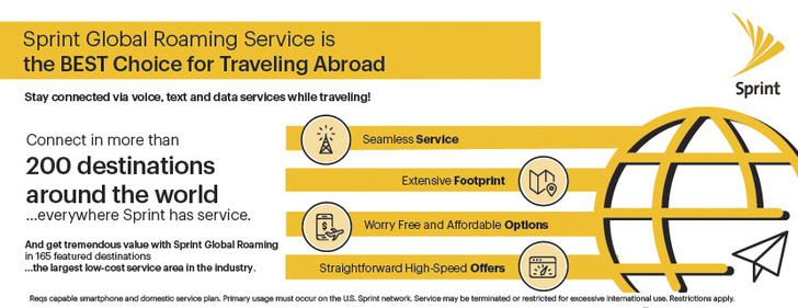 Sprint expands international roaming to 165 countries with free 'basic' data, free texts, and $0.20/min calls, revamps high-speed data