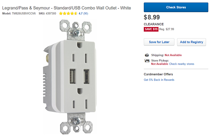 [Deal Alert] Get the Legrand/Pass & Seymour wall outlet with USB ports for $8.99 ($19 off) from Best Buy
