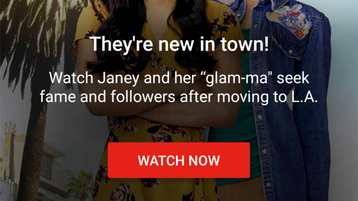 The YouTube app is showing full-screen ads for YouTube Red originals