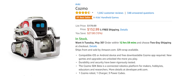 [Deal Alert] Anki's Cozmo robot is $152.99 ($27 off) on Amazon