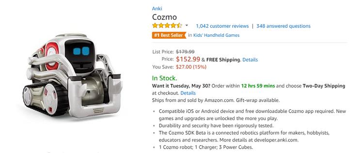[Deal Alert] Anki's Cozmo robot is $152.99 ($27 off) on Amazon