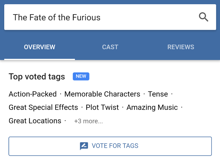 User-voted tags may be coming to movie search results in the Google app
