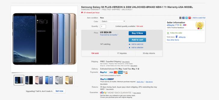 [Deal Alert] Get a Verizon/GSM unlocked Galaxy S8+ for $825 on eBay ($15 off, no sales tax)