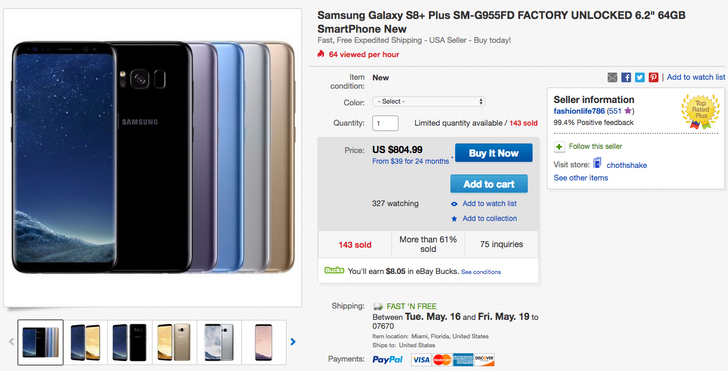 [Deal Alert] Get an Exynos-powered dual SIM Galaxy S8+ for $804.99 (no tax except in CA/FL)