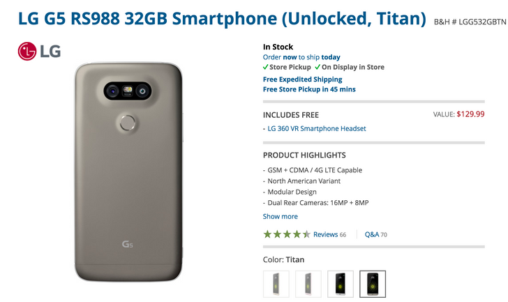 [Deal Alert] Grab an unlocked LG G5 for $299 from B&H ($230 off) and get a free LG 360 VR headset (worth $129)