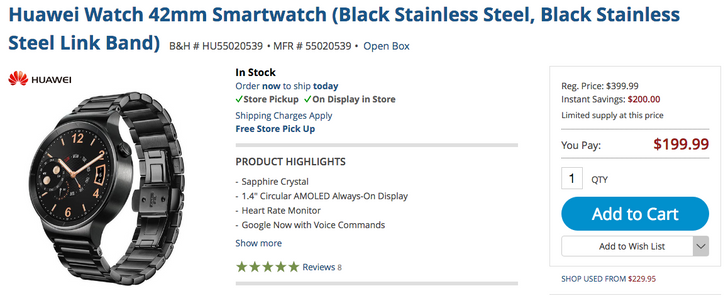 [Deal Alert] Black Huawei Watch with black stainless steel band is down to $199.99 open box on B&H / $219.99 new on Amazon and Best Buy ($180+ off)