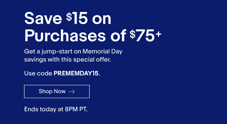 [Deal Alert] Get $15 off purchases of $75 or more on eBay for today only
