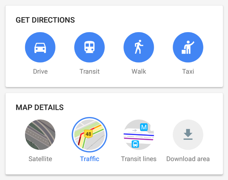 New home screen in Google Maps for Android, exclusive to India