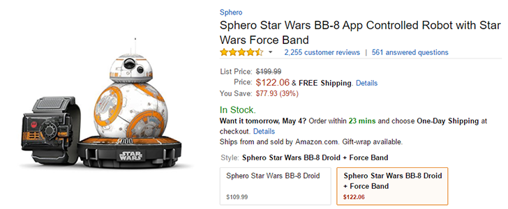 [Deal Alert] Get the Sphero remote-controlled BB-8 with Force Band for $122 ($78 off) on Amazon