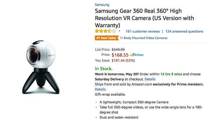 [Update: Now $157] Deal Alert: Samsung Gear 360 1st gen down to $168.55 on Amazon