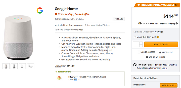 [Deal Alert] Google Home is $15 off at Newegg with additional $20 gift card