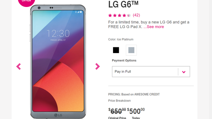 LG G6 already down to $500 at T-Mobile, plus free Google Home and G Pad X tablet