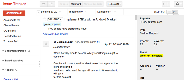 """[Update: False alert] Google says gifting in the Play Store is """"Infeasible,"""" marks it as """"Won't Fix"""" in the Issue Tracker"""