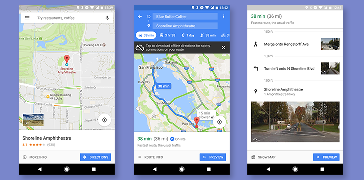 Google Maps gains Street View images for directions and a bottom bar for location info, directions, and more