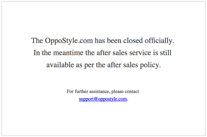 Oppo's official distributor site, Oppostyle.com, is officially closed