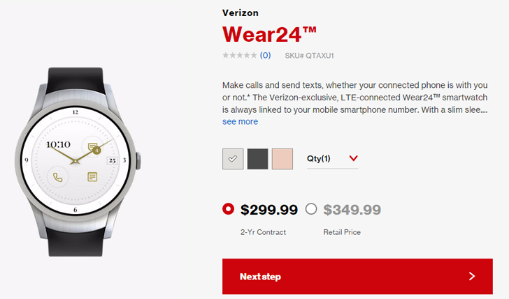 Verizon's Wear24 smartwatch is now on sale, $300 on contract or $350 full price