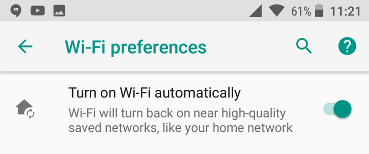 Android O feature spotlight: You can automatically enable WiFi near trusted networks, and it now works in DP2