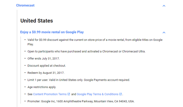 [Deal Alert] Rent a movie from Google Play for $0.99 if you have purchased and activated a Chromecast/Ultra (U.S. only)