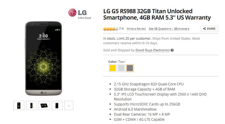 [Deal Alert] Get an unlocked LG G5 for $259 from Newegg