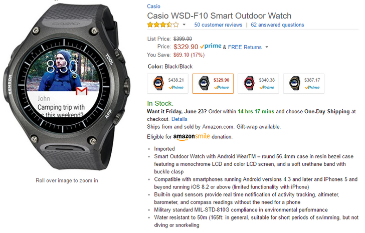 [Update: Now $317 and $323] Deal Alert: Casio WSD-F10 outdoor Android Wear 2.0 smartwatch $330-$340 at Amazon ($60-70 off)
