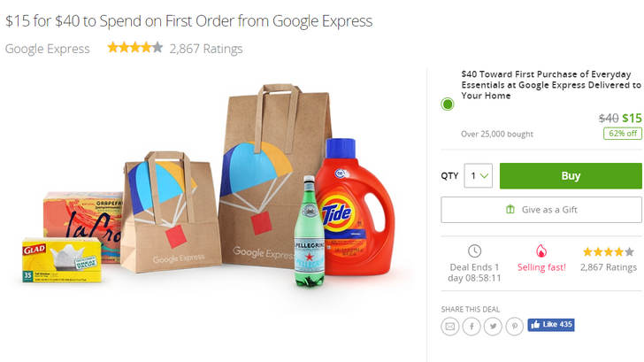 [Deal Alert] $15 at Groupon buys you $40 toward your first Google Express purchase