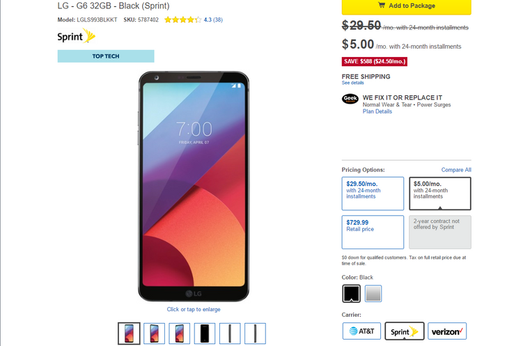 [Update: Extra $30 off] Deal Alert: Today is the last day you can get the Sprint LG G6 for just $120 at Best Buy