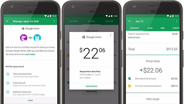 Project Fi announces group repay with Google Wallet