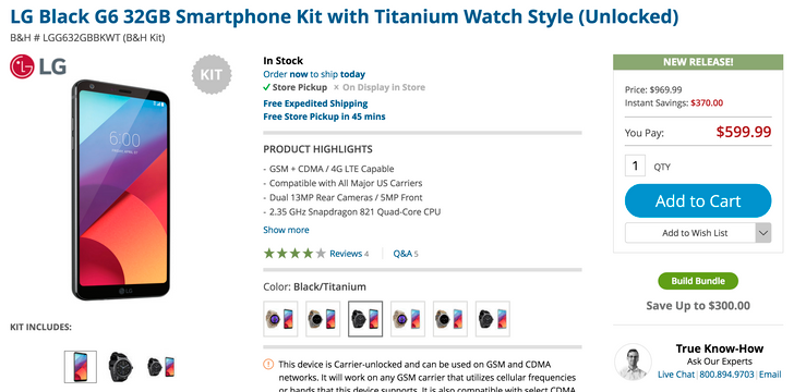 [Deal Alert] B&H has the unlocked LG G6 for $549.99 ($50 off), or $599.99 with a Watch Style included ($130 off)
