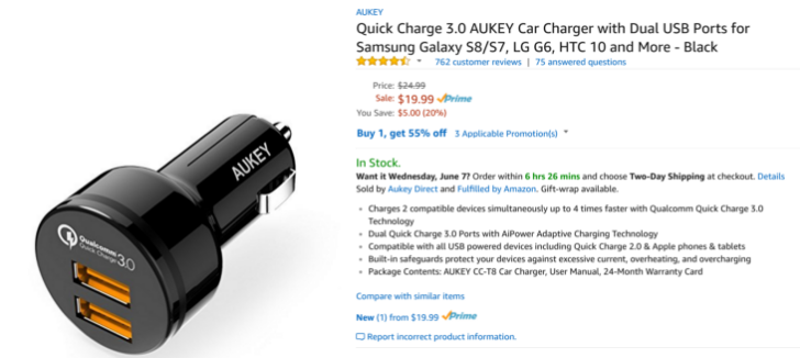 [Deal Alert] Aukey's dual USB QC 3.0 car charger is $9 on Amazon with promo code