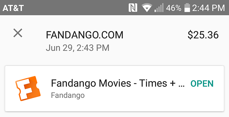 Fandango adds Android Pay support, all purchases are $3 off this month when you use it