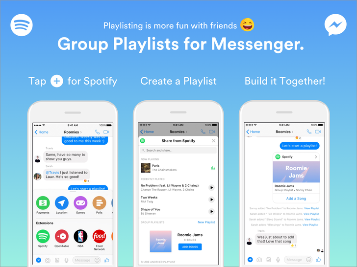 Spotify adds Group Playlist functionality to Facebook Messenger