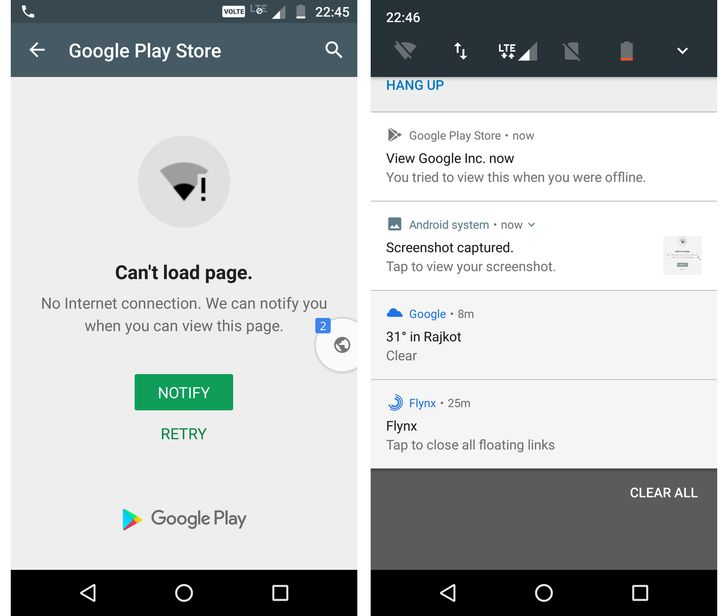 The Play Store now fails gracefully when you're offline, offers to show pages when you're connected again
